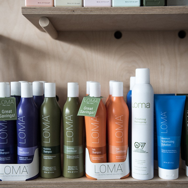 Lineup of Loma Hair Care products